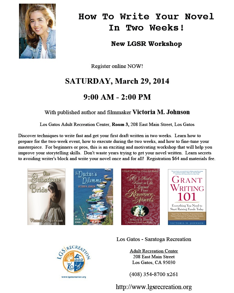 How To Write Your Novel In Two Weeks! workshop by Victoria M. Johnson